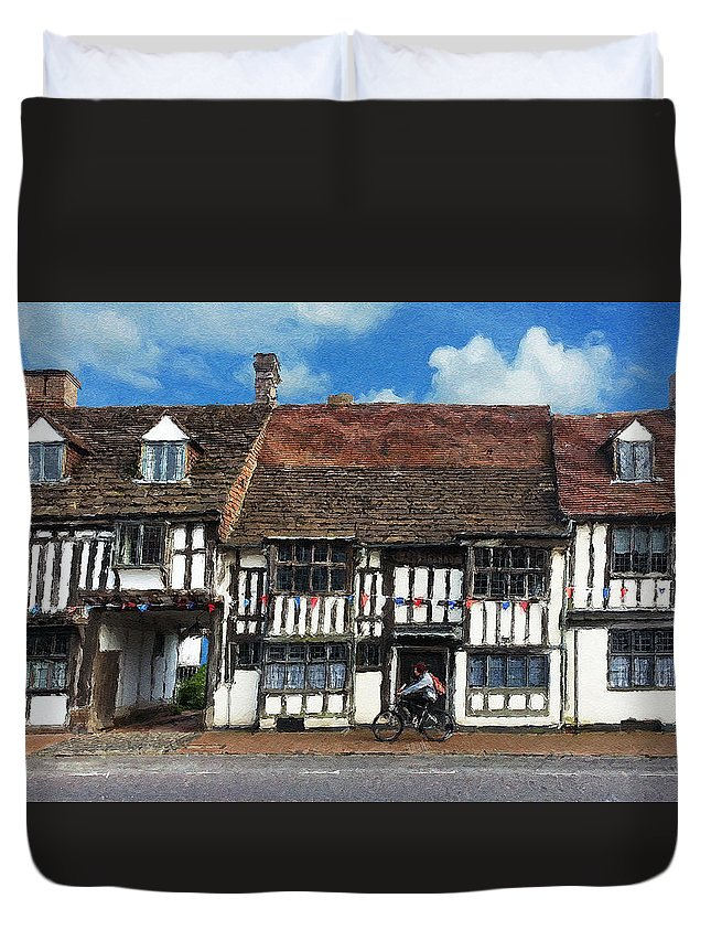 East Grinstead Duvet Cover featuring the digital art The Paperboy by Julian Perry