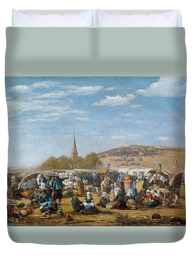 The Duvet Cover featuring the painting The Pardon Of Sainte Anne La Palud by Eugene Louis Boudin