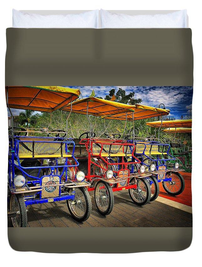 Park Bikes Duvet Cover featuring the photograph The Park Bikes by John McCuen