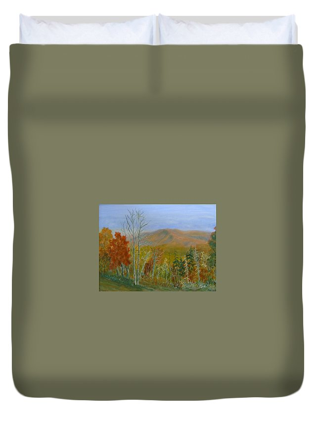 Mountains; Trees; Fall Colors Duvet Cover featuring the painting The Parkway View by Ben Kiger