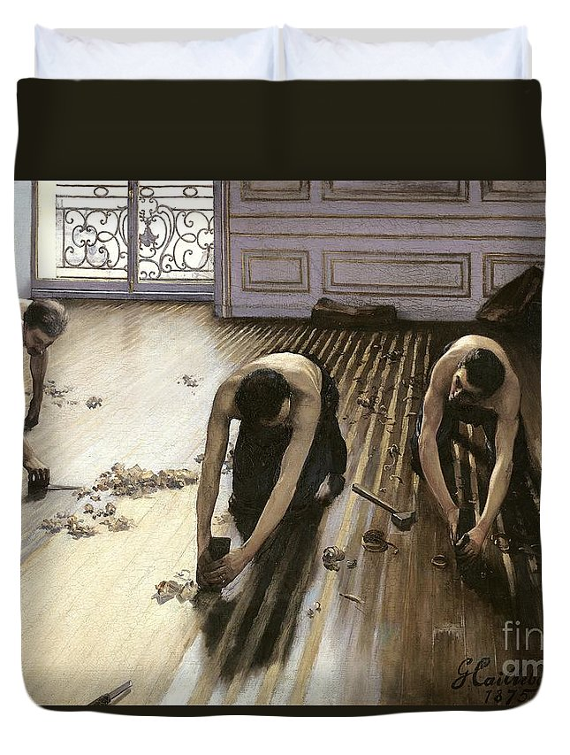 Gustave Caillebotte Duvet Cover featuring the painting The Parquet Planers by Gustave Caillebotte