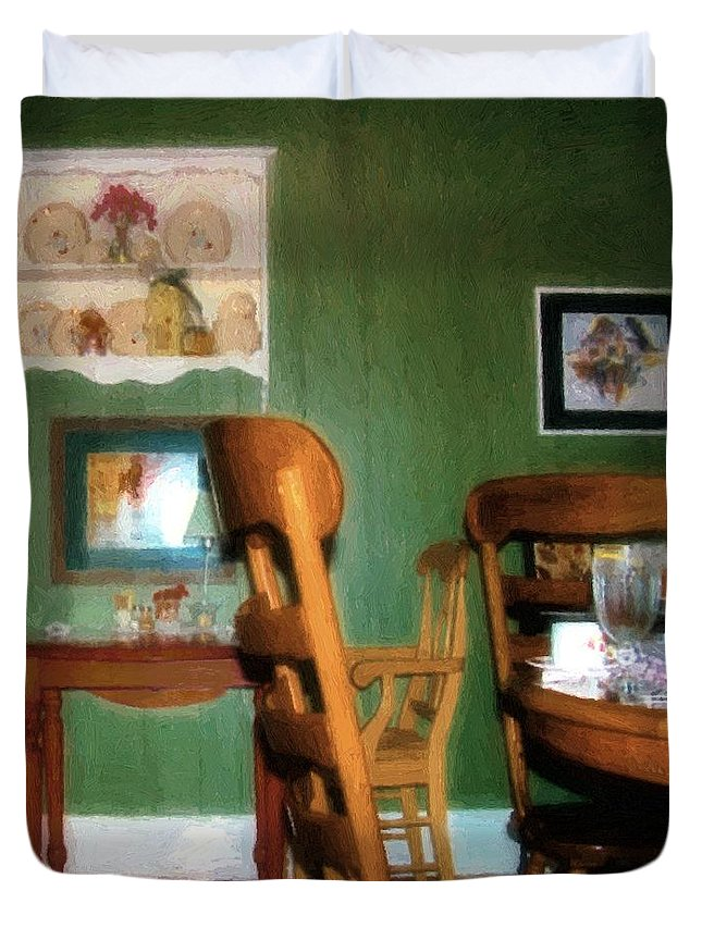 Chairs Duvet Cover featuring the painting The Party's Over by RC deWinter