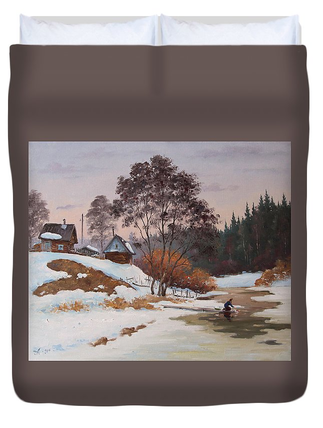 Landscape Duvet Cover featuring the painting The Pasha River. March by Alexander Alexandrovsky