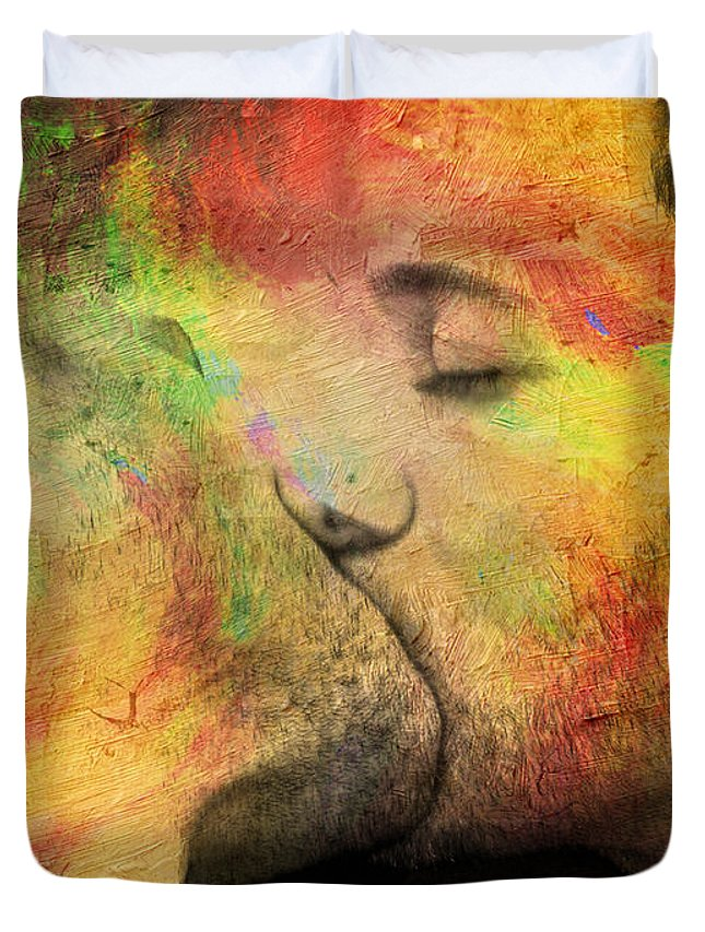 Kiss Duvet Cover featuring the painting The Passion Of A Kiss 1 by Mark Ashkenazi