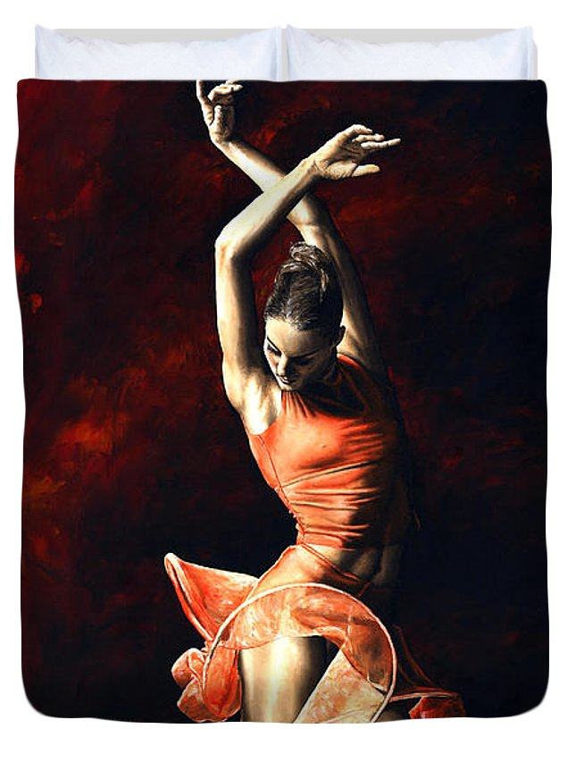 Dancer Duvet Cover featuring the painting The Passion Of Dance by Richard Young
