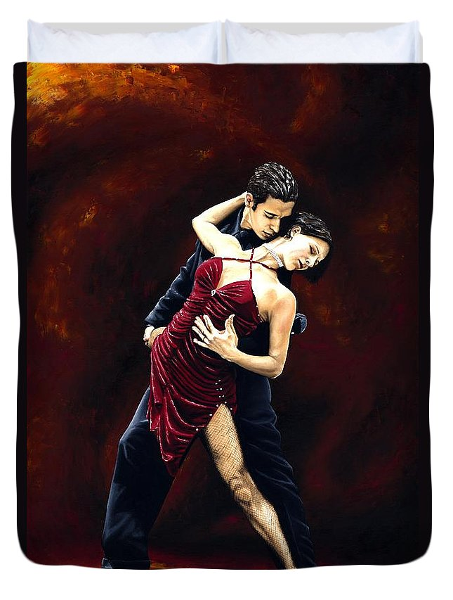 Tango Duvet Cover featuring the painting The Passion of Tango by Richard Young