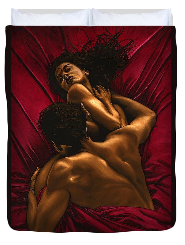 Nude Duvet Cover featuring the painting The Passion by Richard Young