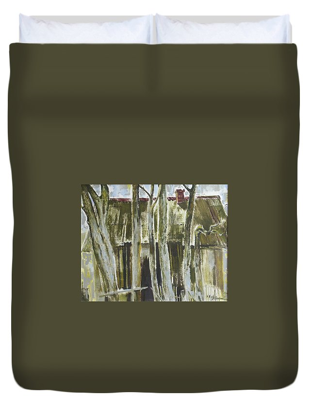 Oil Duvet Cover featuring the painting The Past Space by Sergey Ignatenko