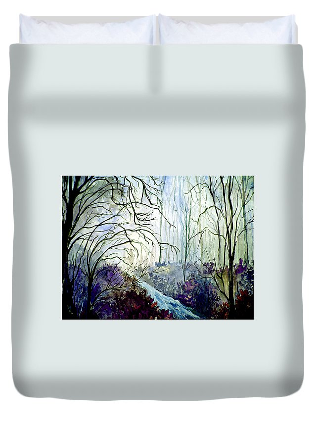 Watercolor Duvet Cover featuring the painting The Path by Brenda Owen