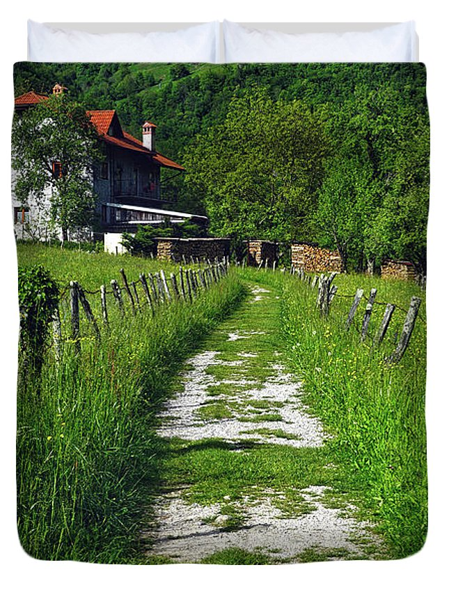 Europe Duvet Cover featuring the photograph The Path Home by Lia Leslie