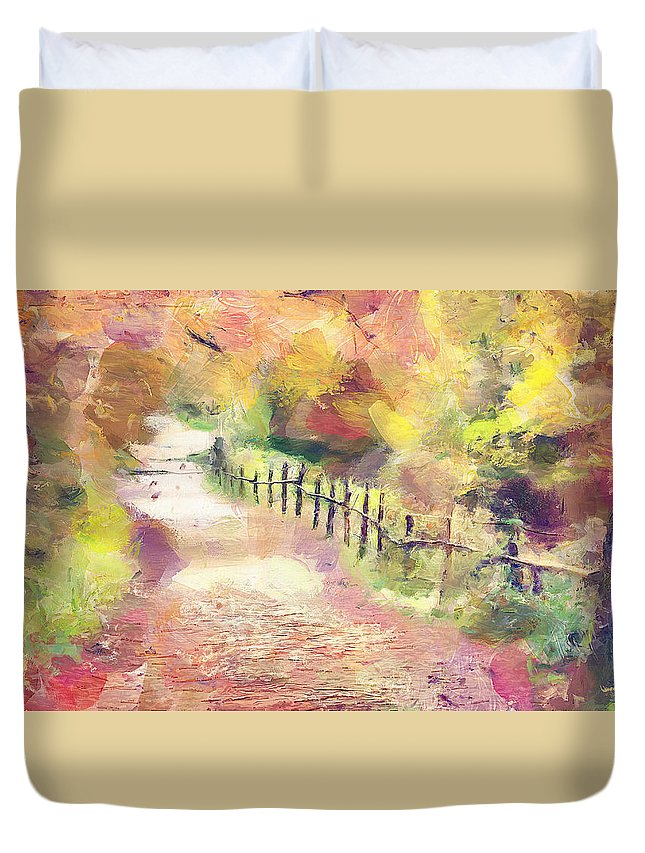 Autumn Duvet Cover featuring the painting The Path In Autumn by Wayne Pascall