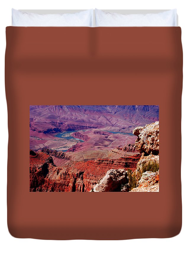 Grand Canyon Duvet Cover featuring the photograph The Path Of The Colorado River by Susanne Van Hulst