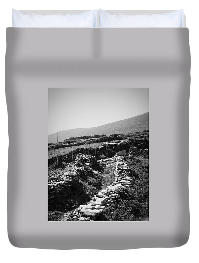 Irish Duvet Cover featuring the photograph The Path To The Beehive Huts In Fahan Ireland by Teresa Mucha