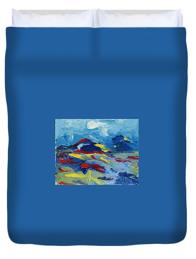 Abstract Duvet Cover featuring the painting The Peak by Christopher O'Kelley