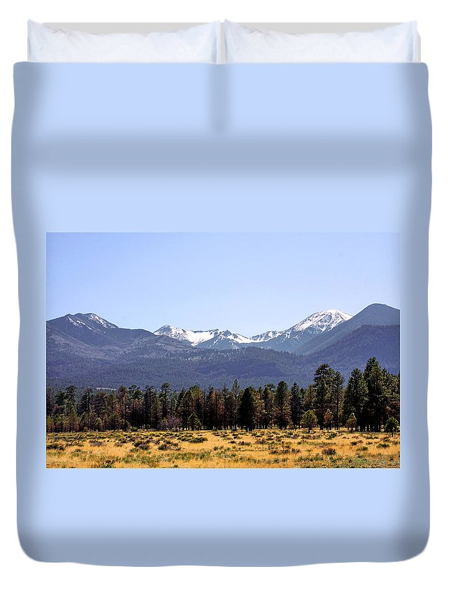 The Peaks Duvet Cover featuring the photograph The Peaks - Where earth meets heaven by Alexandra Till
