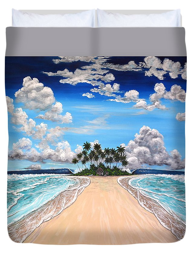 Tropical Duvet Cover featuring the painting The Pearly Gates by Marty Calabrese