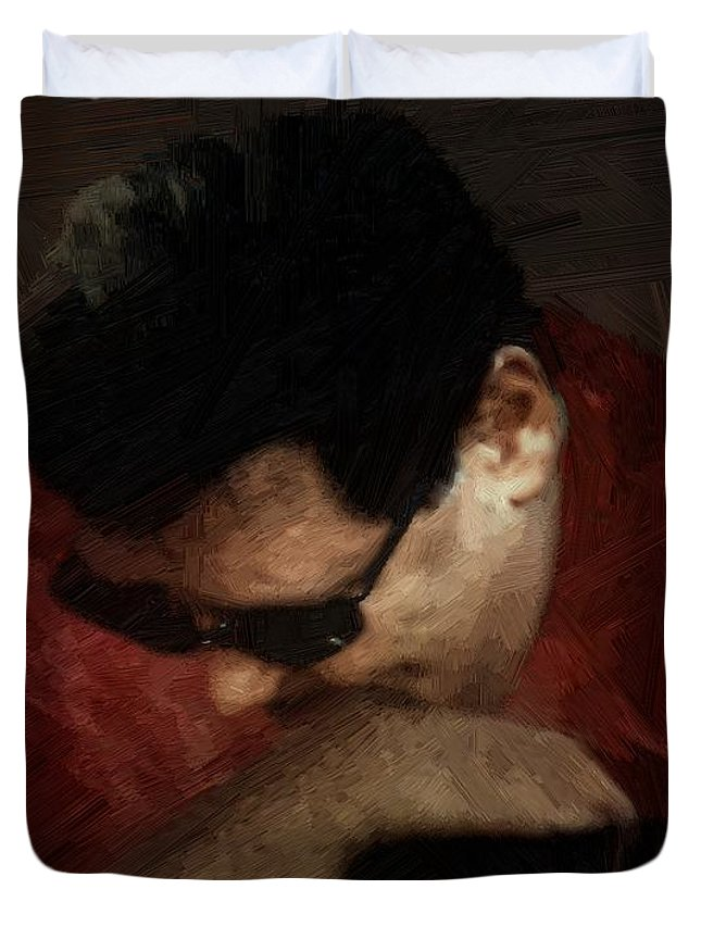 Portrait Duvet Cover featuring the painting The Penitent by RC DeWinter