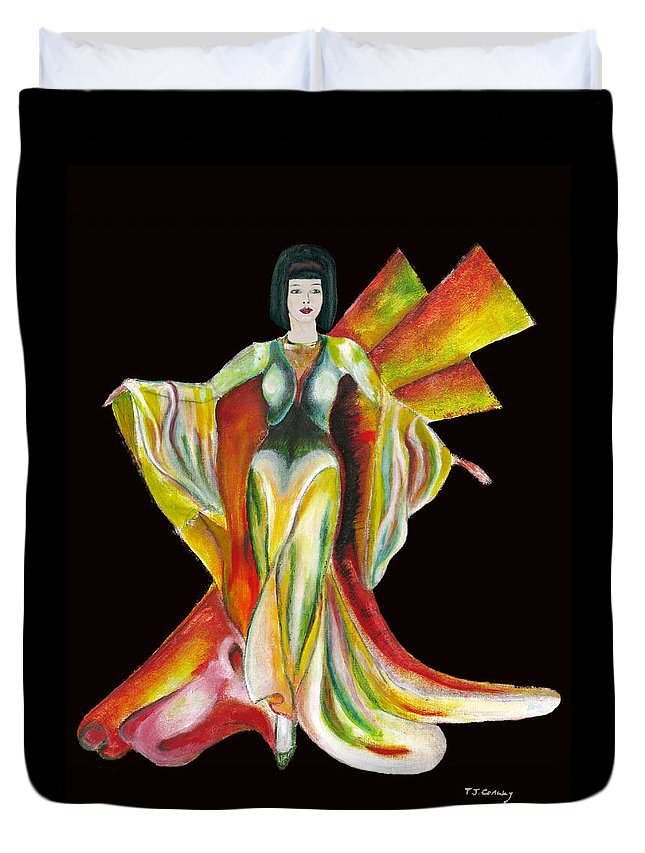 Dresses Duvet Cover featuring the painting The Phoenix 2 by Tom Conway