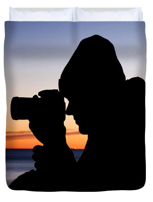 Ocean Duvet Cover featuring the photograph The Photographer by Greg Fortier