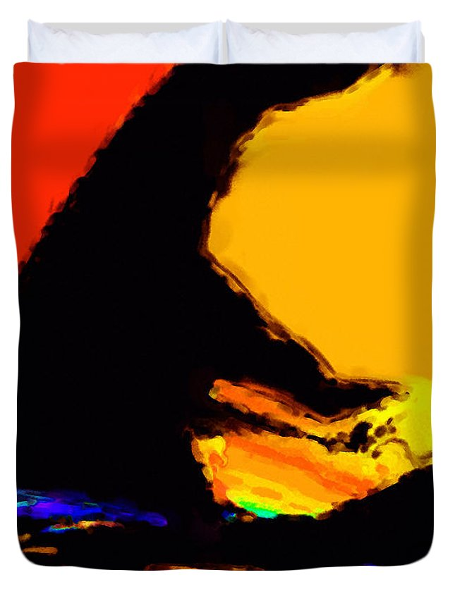 Abstract Duvet Cover featuring the digital art The Pianist by Richard Rizzo