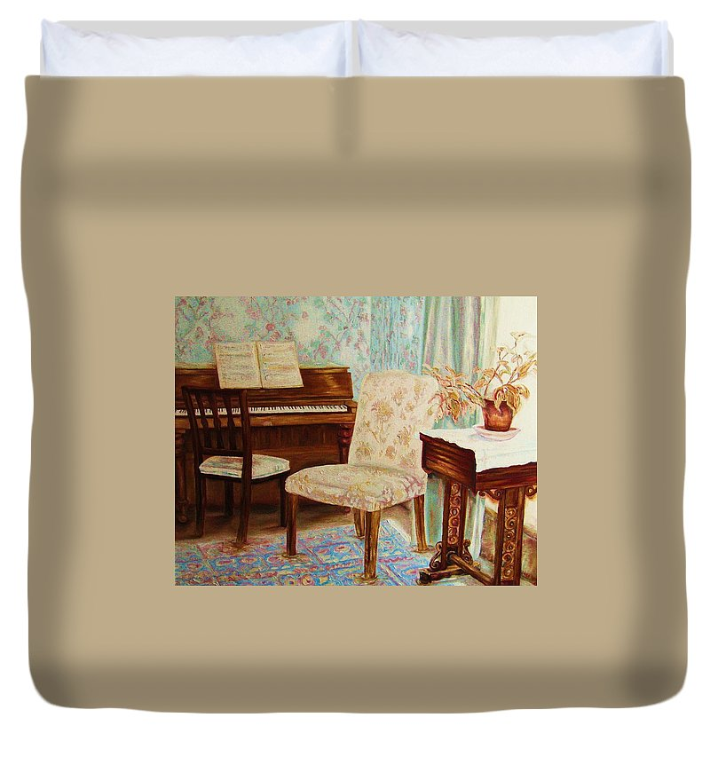 Iimpressionism Duvet Cover featuring the painting The Piano Room by Carole Spandau