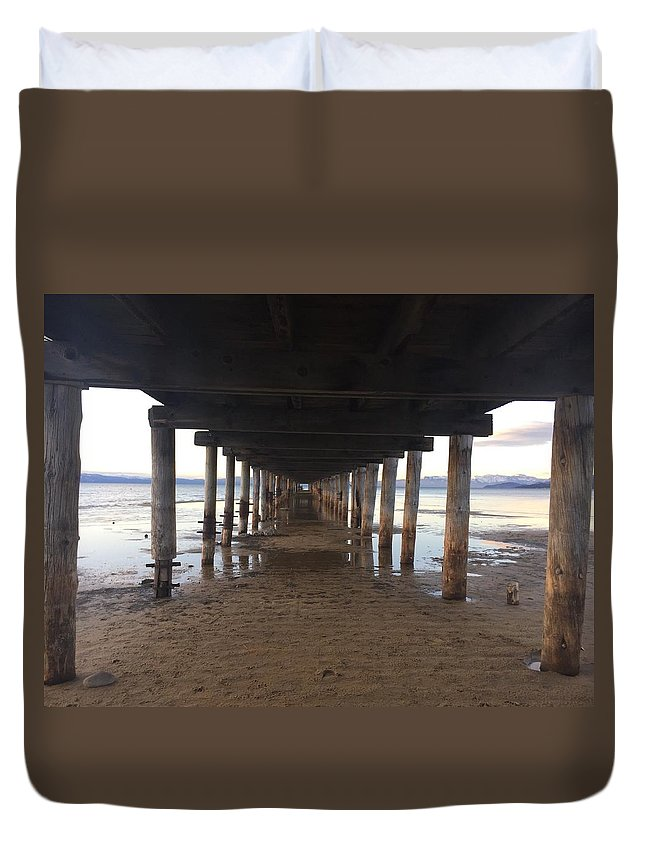 Pier Duvet Cover featuring the photograph The Pier by Christina McNee-Geiger