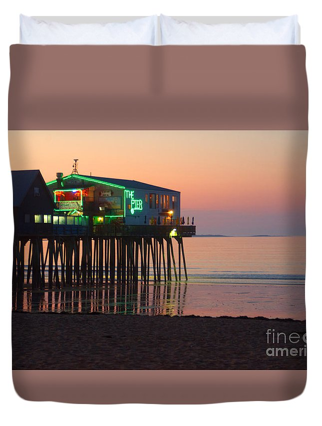 Pier Duvet Cover featuring the photograph The Pier by Ray Konopaske
