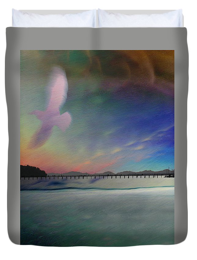 Pier Duvet Cover featuring the photograph The Pier - White Rock by Ed Hall
