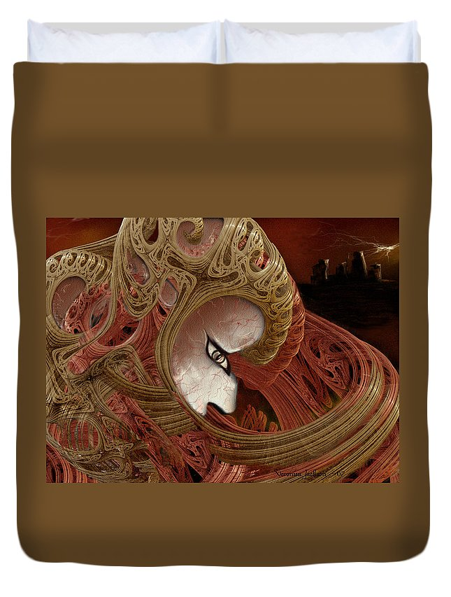 Warrior Darkness Loneliness Eyes Shield Duvet Cover featuring the digital art The Pilgrim by Veronica Jackson