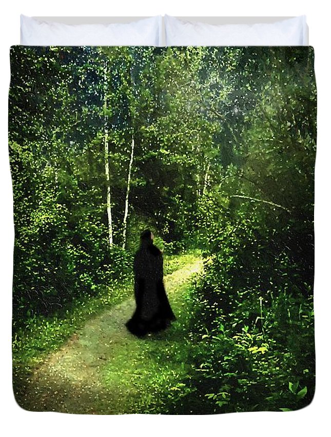 Forest Duvet Cover featuring the painting The Pilgrimage by RC DeWinter