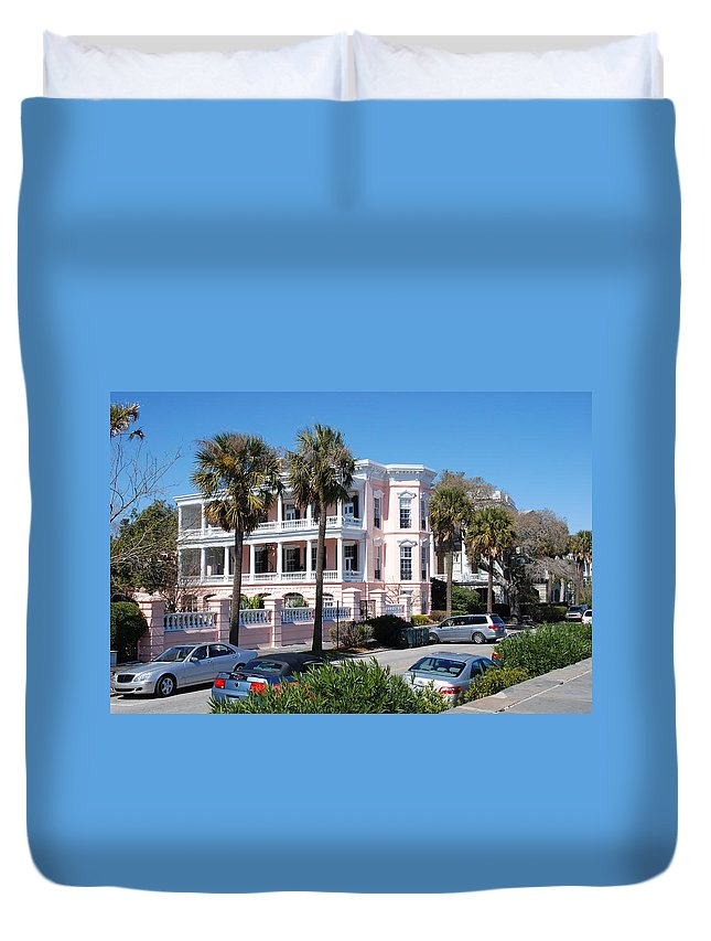 Photography Duvet Cover featuring the photograph The Pink Battery House by Susanne Van Hulst