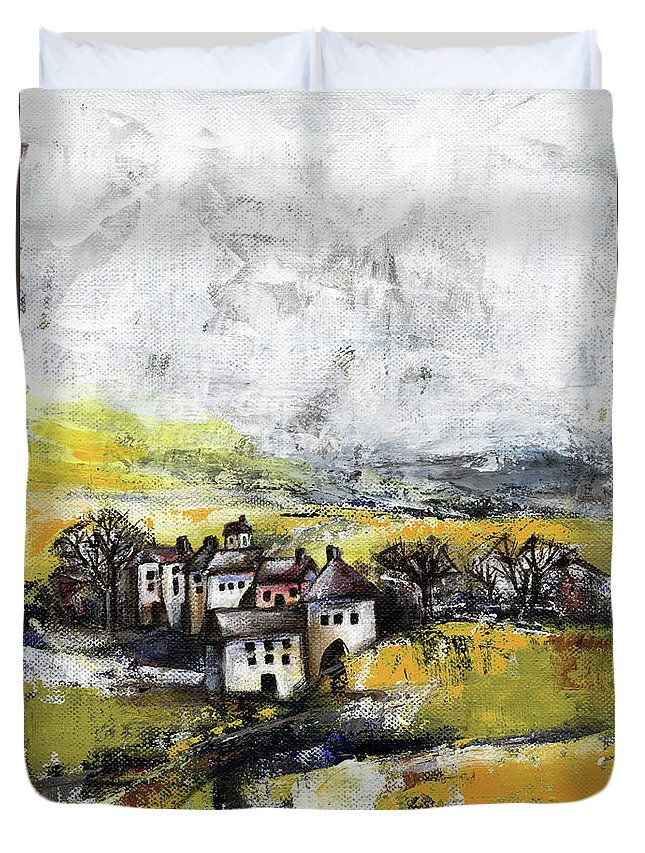 Landscape Duvet Cover featuring the painting The Pink House by Aniko Hencz