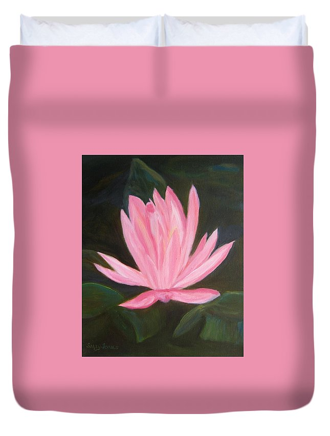#water_lilies Duvet Cover featuring the photograph The Pink Water Lily by Sally Jones
