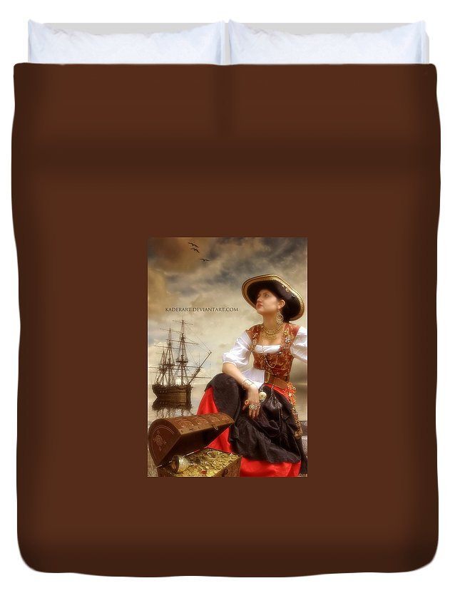 Duvet Cover featuring the digital art The Pirate Queen by Abdelkader Bouazza