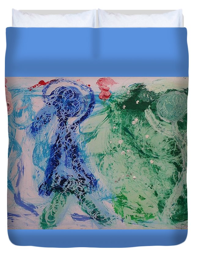 Play Duvet Cover featuring the painting The Play Le Jeu by Maria Frankmar