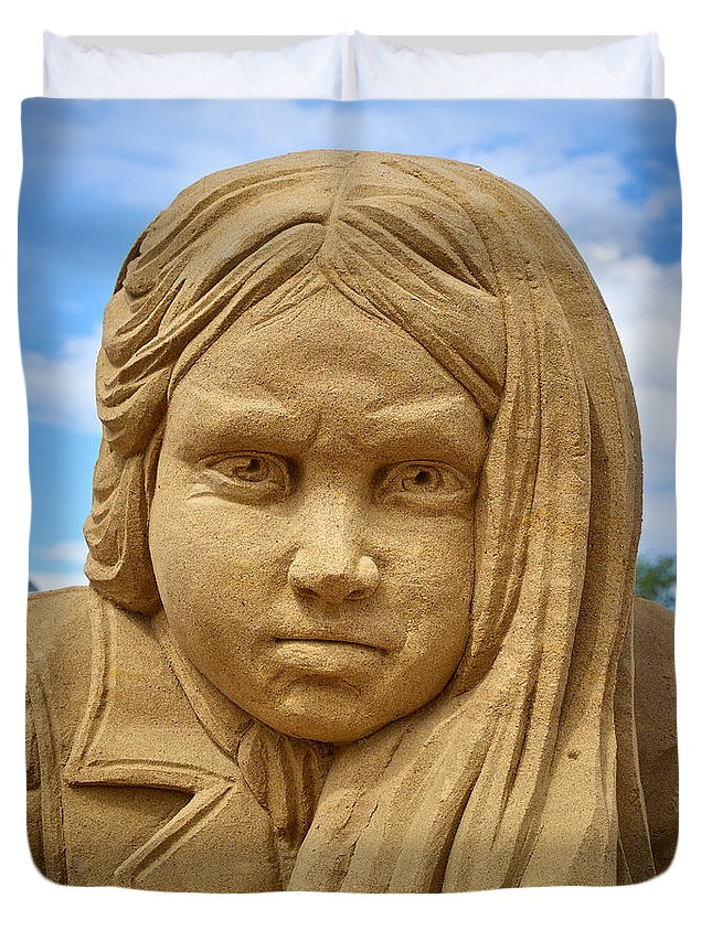 Finland Duvet Cover featuring the photograph The Playing Girl by Jouko Lehto