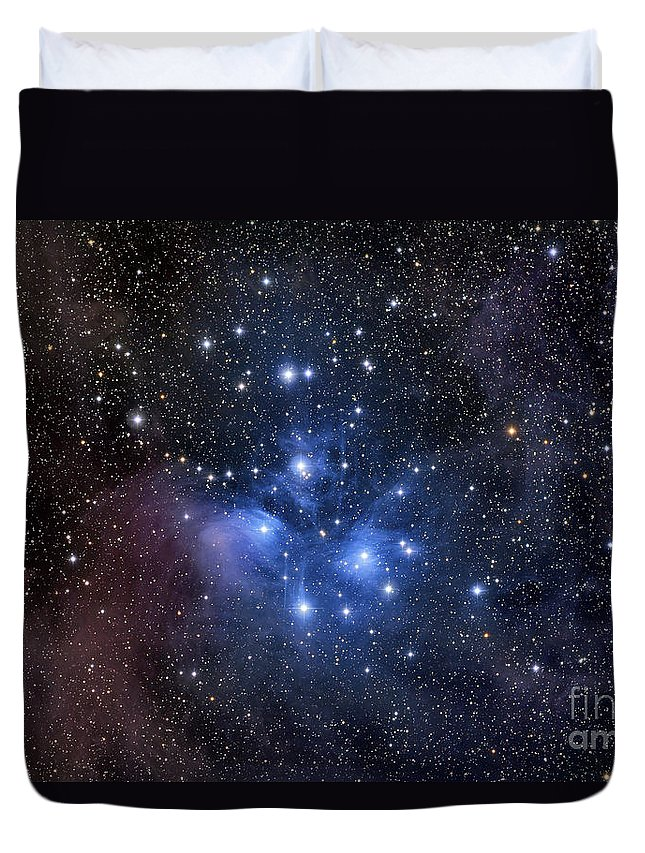 Messier 45 Duvet Cover featuring the photograph The Pleiades, Also Known As The Seven by Roth Ritter