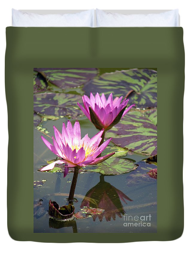 Lillypad Duvet Cover featuring the photograph The Pond by Amanda Barcon