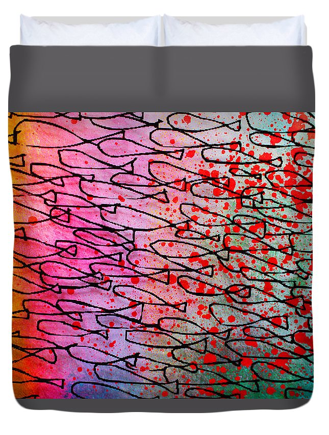 Abstract Duvet Cover featuring the painting The Pond by Paul Megens