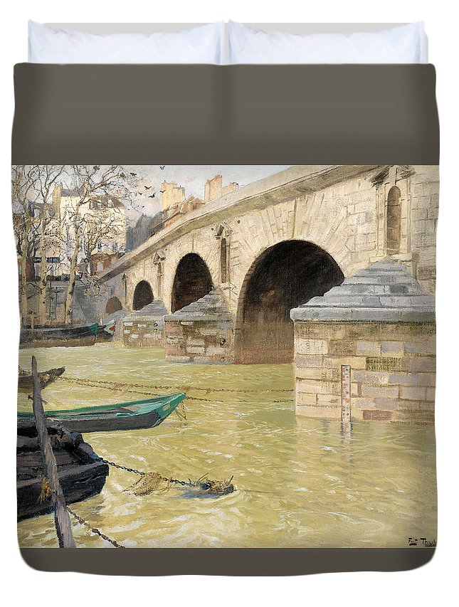 Frits Thaulow Duvet Cover featuring the painting The Pont Marie. Paris by Frits Thaulow
