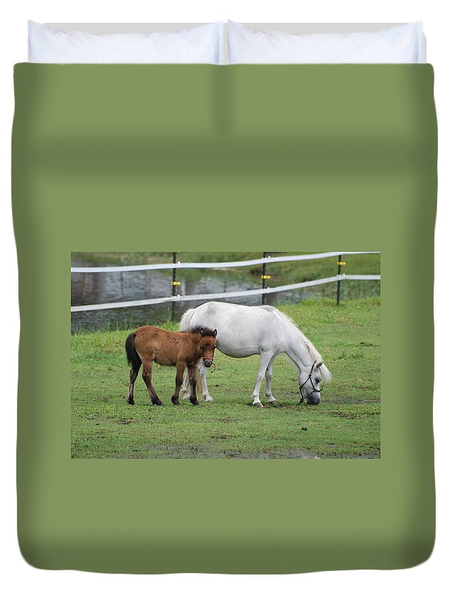Horse Duvet Cover featuring the photograph The Ponys by Rob Hans