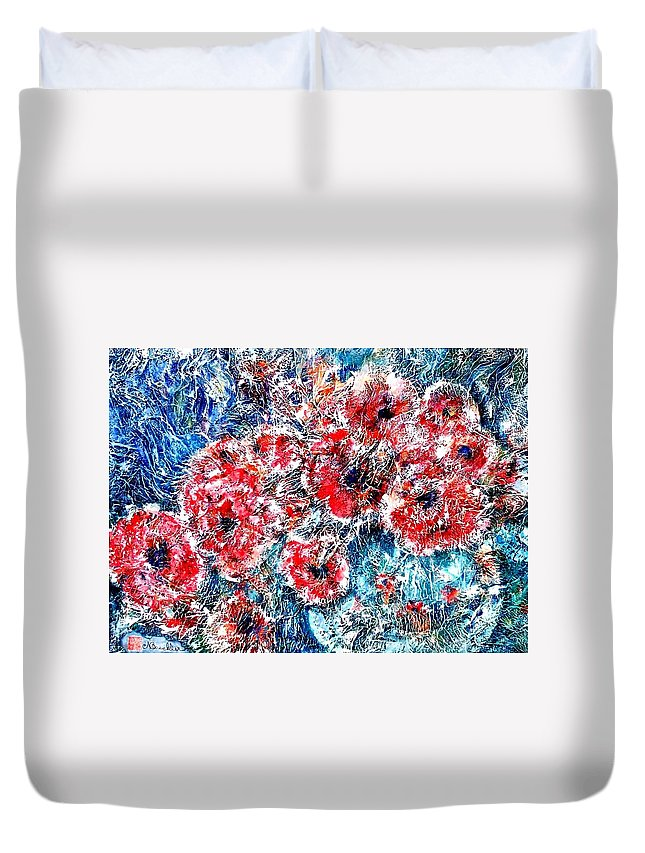 Poppies Duvet Cover featuring the painting The Poppies by Norma Boeckler