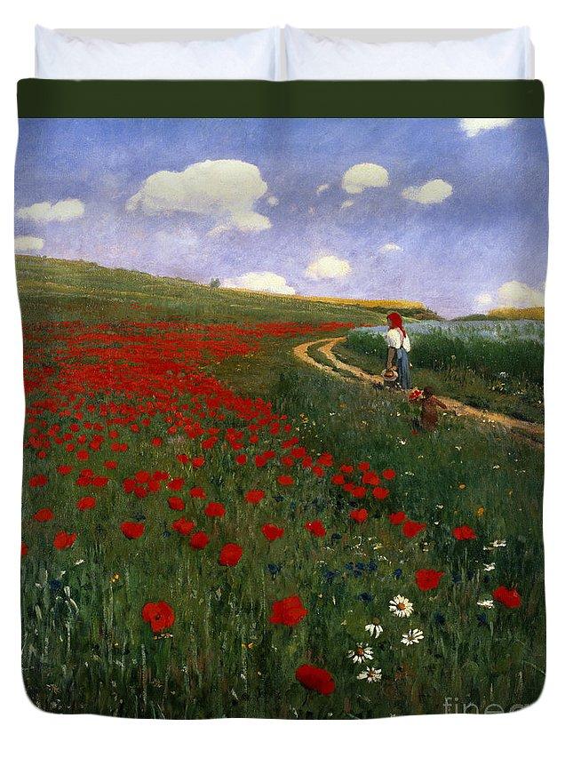 The Poppy Field By Pal Szinyei Merse (1845-1920) Duvet Cover featuring the painting The Poppy Field by Pal Szinyei Merse
