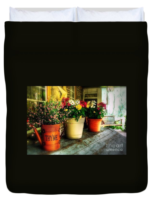Porch Duvet Cover featuring the photograph The Porch Swing by Lois Bryan