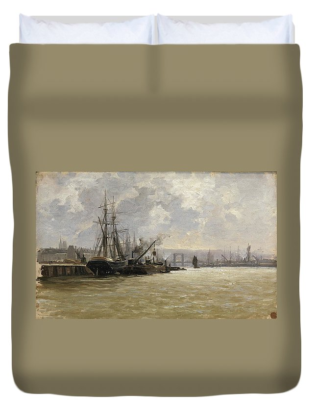 Adventure Duvet Cover featuring the painting The Port Of Rouen by Haes Carlos De