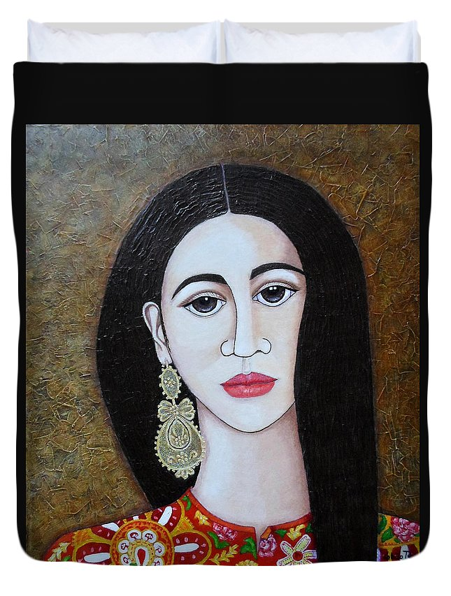 Woman Duvet Cover featuring the painting The Portuguese Earring 2 by Madalena Lobao-Tello