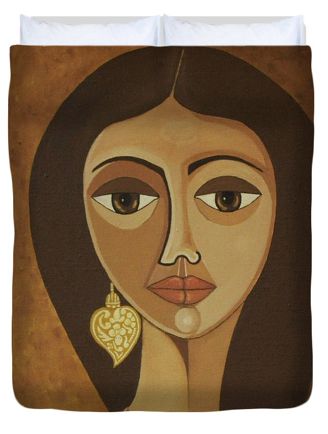Portuguese Duvet Cover featuring the painting The Portuguese Earring by Madalena Lobao-Tello