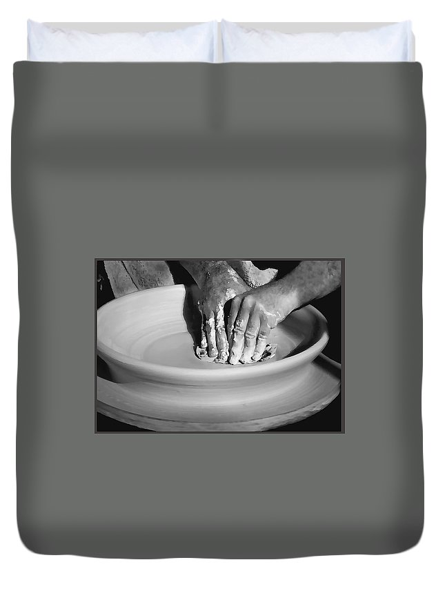 Hand Duvet Cover featuring the photograph The Potter by Sharon Foster