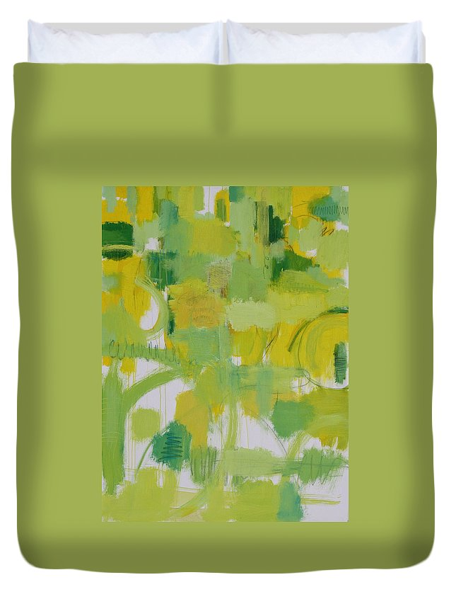 Abstract Duvet Cover featuring the painting The Power Of Green by Habib Ayat