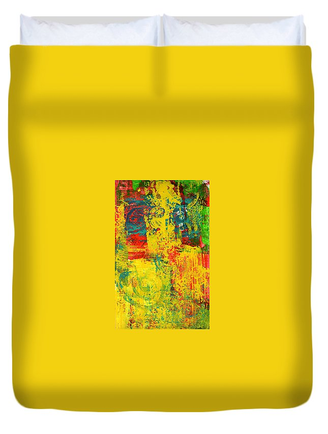 Abstract Duvet Cover featuring the painting The Power Within by Wayne Potrafka